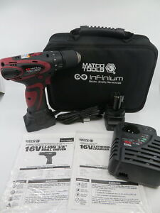 Matco 16v Li ion 3 8 Drill Driver Mcl1638ddk2 With Batteries And Charger