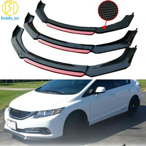 Carbon Fiber Front Bumper Lip Splitter For 2013 2015 2014 9th Honda Civic Sedan