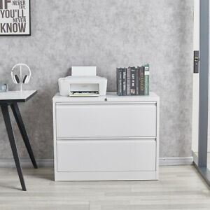 Modern Luxe Lateral Metal Storage Filing Cabinet With 2 Drawers For Home Office