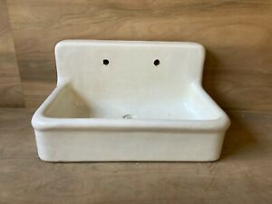 Rare Early Antique 36 High Back Heavy Earthenware Kitchen Sink Old Vtg 662 20e