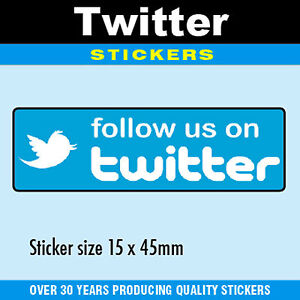 Follow Us On Twitter Stickers 15 X 45mm Professionally Printed 4 Pack Sizes