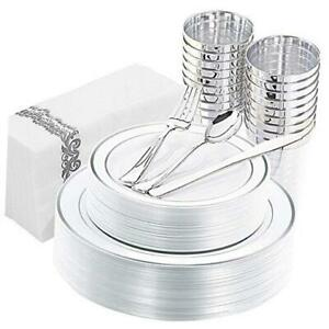 175pcs Silver Plastic Plates With Disposable Plastic Silverware cups Silver