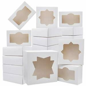 20 Pcs 3 sizes Cardboard Bakery Cookie Boxes Set With Window Auto popup For Chr