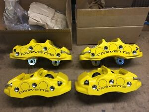 2006 2014 C6 Z06 Grand Sport Yellow Caliper Set Front Rear New Genuine Gm