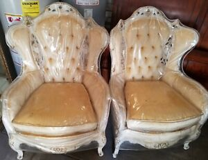 Vintage Rococo Louis Xvi Tufted Carved Armchair Accent Ornate French With Cover