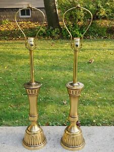 Stiffel Modernist Brass Table Lamps Regency Mid Century Parzinger Era
