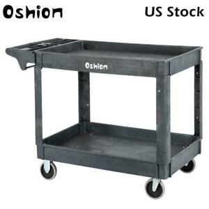 Large 2 Shelf Heavy Duty Utility Cart With Wheels For Tools Workshop Hotel