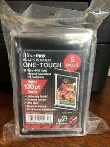 5 Pack Of Ultra Pro One touch Black Border 130pt Point Magnetic Card Holder Pack