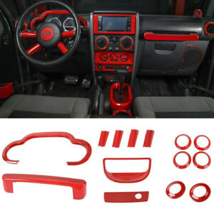 Red Interior Decoration Cover Kit For 2007 2010 Jeep Wrangler Jk Jku Accessories