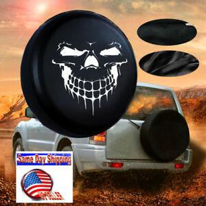 17 Black Grinning Skull Spare Tire Cover Size Xl For Jeep Suv Truck Rv Camper