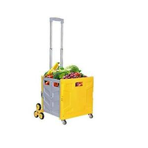 Foldable Utility Cart Folding Portable Rolling Crate Wheel 360 2 yellow grey