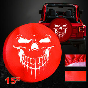 15 Red Car Spare Wheel Tire Cover Grinning Skull Heavy Duty Vinyl 15inch Size M