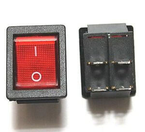 Dpst double Pole Single Throw 4 pin on off 20amp Red Led Rocker Switch