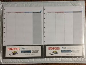 Lot Of 2 Staples Arc Notebook Weekly Planner Refill 51699 Letter Size