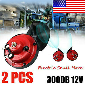 2x 300db 12v Super Loud Train Electric Horn For Car Truck Bus Boat Motorcycle Us