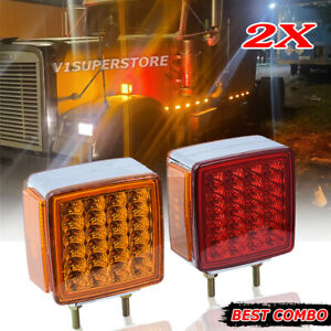 2 Square Dual Face Stud Mount Pedestal Cab Fender Turn Signal Light 39 Led Truck