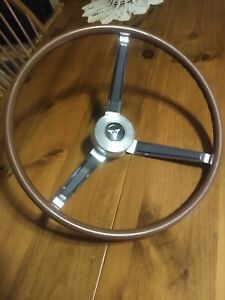 1967 Dodge Coronet Dart Woodgrain Steering Wheel Mopar Plymouth With Horn Button