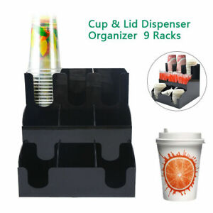 Cup Lid Dispenser Organizer Coffee Condiment Holder Caddy Coffee Cup 9 Racks