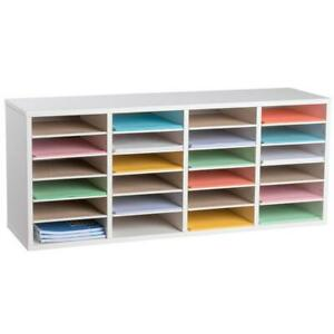 Literature Organizer Wood Adjustable 24compartment White Rugged Office Furniture