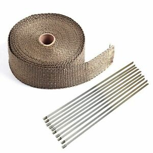 2 50ft Fiberglass Exhaust Header Manifold Pipe Heat Wrap Tape 10 Steel Ties