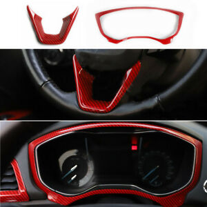 For Ford Mondeo Red Carbon Fiber Look Dashboard Steering Wheel Trim Cover 13 18