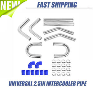 Universal 2 5in Aluminum Intercooler Pipe Kit Silicone Hose Coupler Clamp At