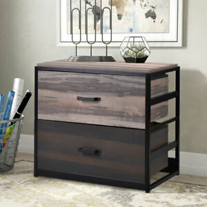 Wood Lateral File Cabinet W 2 Drawer Filing Cabinet Legal letter a4 Size Brown