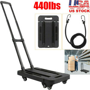 440lbs Cart Folding Collapsible Trolley Push Hand Truck Rolling Moving W 6 Wheel