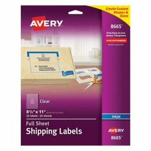 Avery 8665 Clear Full Sheet Labels 8 1 2 X 11 25 Labels ave8665