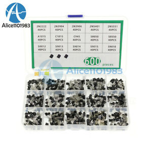 600pcs 15 Values X 40 Pcs Assorted Transistor To 92 Assortment Box Kit