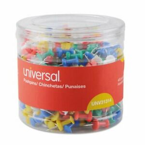 Universal Colored Push Pins Plastic Assorted 3 8 400 pack unv31314