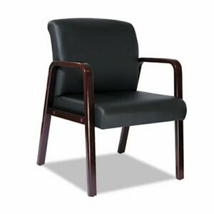 Alera Reception Lounge Series Guest Chair Mahogany black Leather alerl4319m