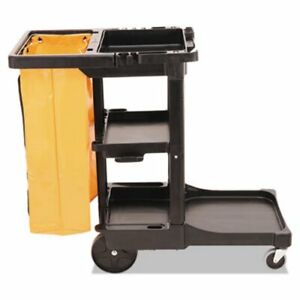 Rubbermaid 617388 Janitor Cleaning Cart With Vinyl Bag Black rcp617388bk
