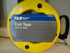 T b Electricians Supplies Fish Tape 100 Ft 1 8 Steel Cat No 14 258