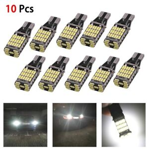 10x T15 4014 Error Free Led W16w Car Reverse Back White Light Bulb 6000k 45