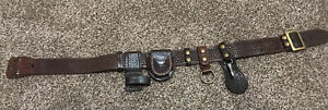Banchi B2 Brown Leather Duty Belt Basket Weave Size 34 Clip Ring Handcuff Club