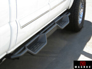 Black Running Boards For 01 07 Chevy Silverado Gmc Sierra Crew Cab