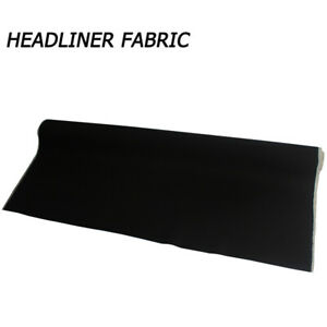 Headliner Fabric Black 60 x54 Head Liner Upholstery Sagging Replace Foam Backed