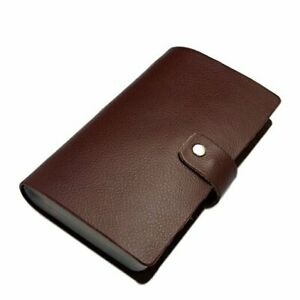 Leather Credit Card Holder Business Id Card Case Book Style 90 Count Brown