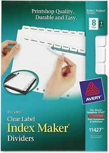 Avery 8 tab Mini Binder Dividers 5 5 X 8 5 Easy Print Apply Clear Label St