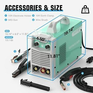 Mig 135a 110v Welder Gas Less Flux Core Wire Automatic Feed Welding Machine
