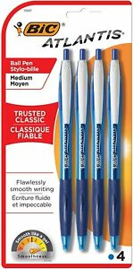 Bic Atlantis Ballpoint Pens Retractable Medium Point Blue Ink 4 Pack