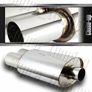 Universal 3 Dual Flat Tip Stainless Steel Weld on Exhaust Muffler 2 5 Inlet