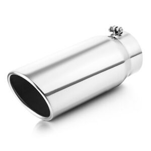 Bolt On Diesel Exhaust Tip 5 Inlet 6 Outlet 15inch Long Silver Stainless Steel