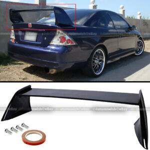 For 01 05 Civic 2dr Evo Style Painted Glossy Black Rear High Wing Trunk Spoiler