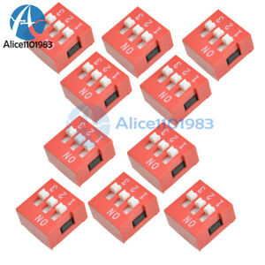 10pcs Slide Type Switch Module 2 54mm 3 bit 3 Position Way Dip Red Pitch