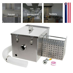 New Commercial Kitchen Grease Trap Stainless Steel Interceptor Filter Kit Usa