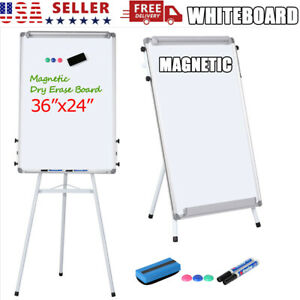 36x24 Magnetic Adjustable Whiteboard Dry Erase Board Tripod Staning White Board