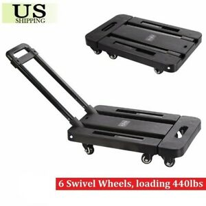 Folding 440lbs Platform Cart Dolly Moving Luggage Hand Truck Trolley Heavy Duty