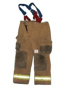 40x30 Globe Brown Firefighter Turnout Pants With Suspenders Yellow Tape P1176